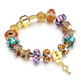 Wholesale Murano Glass Pendants Snake - Gold Plated Charm Bracelet Pulseras for Women With Lock and Key Pendant Murano Glass Beads DIY Christmas Gift AA82