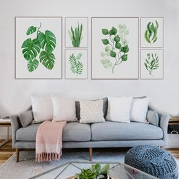 Wholesale Flower Watercolor Paintings - Modern Watercolor Green Leaf Flowers Plant Cottage Canvas Large A4 Print Poster Nordic Wall Picture Home Decor Painting No Frame
