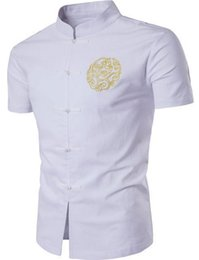Wholesale Kung Fu Shirt Cotton - New Arrival Chinese Men's Linen Embroidery Kung Fu Shirt Summer Wu Shu Tops Short Sleeve Clothing Size M L XL XXL