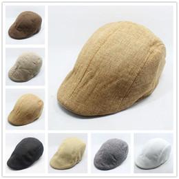 Wholesale Wholesale Cotton Beret Hats - Wholesale-Berets - New Arrival Men And Women Linen Benn Beret Forward Cap Hat Leisure Influx Of People #1863773