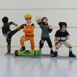Wholesale Good Rocks - 4pcs lot Naruto Uzumaki Naruto Uchiha Sasuke Rock Lee Inuzuka Kiba PVC Action Figures Model Toys free shipping