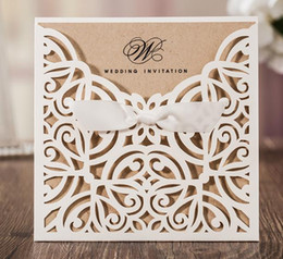 Wholesale Sticker Bows - White Hollow Laser Cut Wedding Invitations Card with Envelope Seal Sticker Ribbon Bow Knot Wedding Favor Ceremony Customized 50Pcs CW6179W