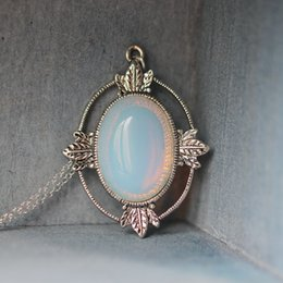 Wholesale Antique Victorian Necklaces - antique silver leaf jewelry Victorian style white moonstone necklace white opal necklace charm bridesmaid gift Labradorite jewelry