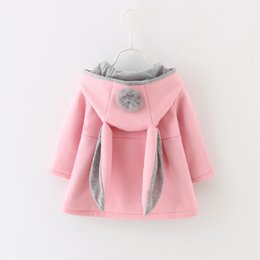 Wholesale Hoodies Ears Wholesale - Everweekend Girls Bunny Ear Wool Blend Coats Fall Winter Hoodie Jacket Clothing Outwears Pink and Red Color Children Clothing
