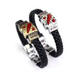 Wholesale Feather Wristband - Wholesale-HOT! Metal Dotas 2 Game Leather Bracelet Men Bracelet Men Jewelry Boy Gift Cosplay Bangles Feather Braided Wristband Bracelet