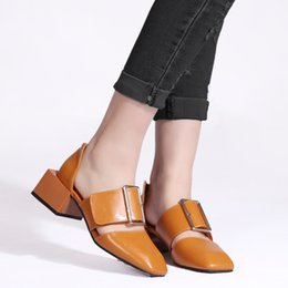 Wholesale Square Mouth Shoes - the thick side with a square shoes low-cut with big buckle Paris catwalk figure shallow mouth word buckle drag sandals GX