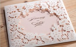 Wholesale Laser Cut Cards Christmas - 2017 Hollow White Flowers Wedding Invitations Card Free Customized printing laser cut Wedding Birthday party invitation cards with envelope