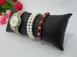 Wholesale White Bracelet Holder - Treachi Directselling 10pcs Jewelry Display Stand Black White PU Leather Bracelet Watch Anklet Bangle Chain Display Large Pillow Holder