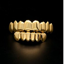 Wholesale Hop Gifts - 24K real Gold Finish Grills Set Eight 8 Top Teeth & Six 6 Bottom Tooth Plain Hip Hop Grills New High Quality Christmas Halloween Gift