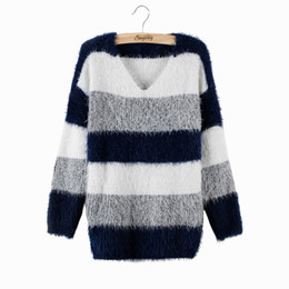 Wholesale Maternity Knit Tops - Wholesale-Plus Size 2016 Spring Women Fashion Striped Pullover Crochet Sweater Casual Tops Warm Knitted Jumper Handsome Maternity Sweaters