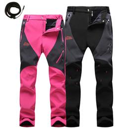 Wholesale Velvet Trousers Women - Wholesale- 2016 New Trekking Pants Men Women Windproof Softshell Warm Pants With Velvet Waterproof Trousers Windstopper Pan054