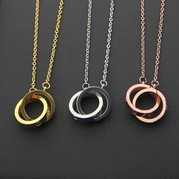 Wholesale Double Chain Necklace Gold - Hot sale 316L Titanium steel Necklace Pendant with small and big double ring connect women and man Necklace Brand logo Jewelry Free Shipping