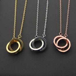 Ring verbinden online-Heißer Stahlhalsketten-Anhänger des Verkaufs 316L mit kleinem und großem doppeltem Ring schließen Frauen und Mann Halsketten-Markenlogo Schmucksachen an Freies Verschiffen
