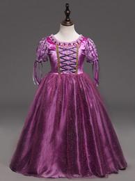 Wholesale Purple Plaid Skirt Girls - Beauty Princess Cosplay long tutu skirt Children Long Sleeve Aurora Costume Clothing Kids Tutu Dress girls tutu skirt