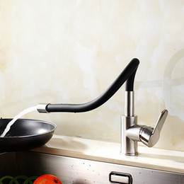 Wholesale Black Single Handle Kitchen Faucet - 2017 Hot Sales ! Black universal kitchen Mixer Taps  Basin Sink Kitchen Faucet With Single Holder Single handle HS415