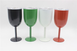 Wholesale Double Suspension - 2017 new 9 color 10oz Wine Glass Double Wall Insulated Metal Goblet With Lid Rambler Colster Tumbler Wine Mugs
