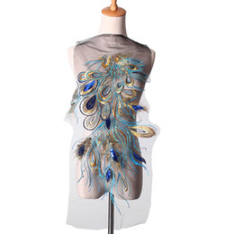 Wholesale Peacock Feathers Accessories - Embroidered Blue Sequins Peacock Feather Applique Patches Sew Trim for Women Dress Clothes Decor DIY Accessories 60X32cm