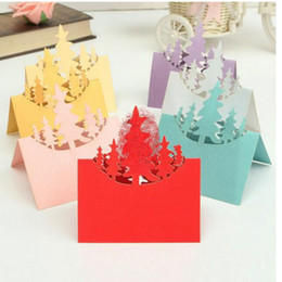 Wholesale thin laser - Christmas Decorations Wedding Table Card Christmas Tree Hollow Laser Cut Sign in Card 5 Color can Choose