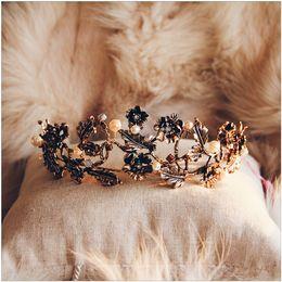 Wholesale Hair Bridal Big Tiaras - 2017 Castle Wedding Bridal Crown Big Size Hair Accessories Baroque Princess Vintage Gold Beads beaded Headwear Handmade Factory Sale