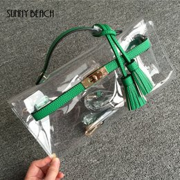 Wholesale Transparent Plastic Handbags - SUNNY BEACH High quality women messenger handbag tassel clutch transparent clear bag plastic leather bag day evening purse