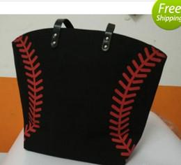 Wholesale Black Soccer Balls - 3 colors stock black white Blanks Cotton Canvas Softball Tote Bags Baseball Bag Football Bags Soccer ball Bag with Hasps Closure Sports Bag