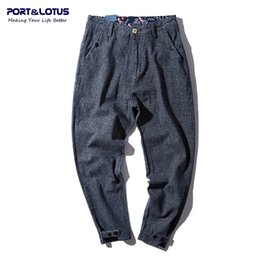 Wholesale Fly Port - Wholesale-PORT&LOTUS Men Fashion Stripe Denim Jeans Brand Clothing Cotton Loose Pants Cross-pants Long Pants Men's Jeans YP018 5133