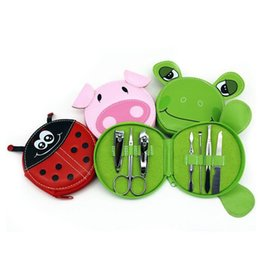 Wholesale Frog Shapes - Stainless Steel Nail Tools Set Kit Pig Frog Ladybird Shape Pouch Packed Nail Art Tools Set Animal Manicure Case Wedding gift