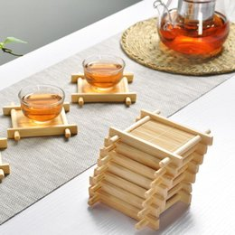 Wholesale Trays For Tea Sets - YGS-Y268 Natural 1pcs 100% Bamboo Wood Trays For Tea Trays 7cm*7cm Creative Chinese Word Jing Concave Cup Mat