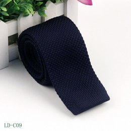 Wholesale Men S Slim Tie - 2017 New arrive Men s Fashion Solid Tie Knit Knitted Tie Pure Color Necktie Narrow Slim Woven 6CM 11-20