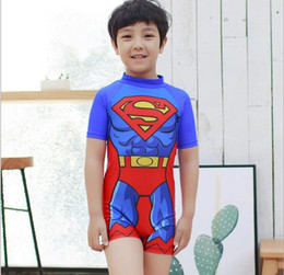 Wholesale Baby Boy Swimwear 12 Months - Baby Boy Swimwear Cartoon Superman Swimming Suit Boy Swimwear M L XL For 90-130cm Boy
