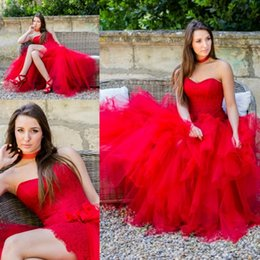 Wholesale Informal Beach Bridal Gowns - 2018 Chic New Arrival Red A Line Wedding Dresses 2017 Sweetheart Informal Bridal Gowns with Detachable Puffy Skirt