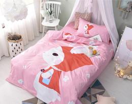 Wholesale Twin Size Green Comforters - Cartoon Little Red Riding Hood Bedding Set Quilt Duvet Cover sheet Children kids Twin Size Boy girl bedclothes set Home Textiles