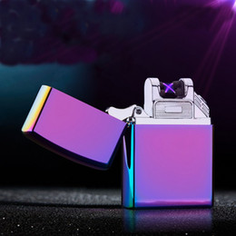 Wholesale Green Electronic Usb Lighter - Wholesale USB Rechargeable Windproof Arc Lighter Flameless Electronic Arc Lighter Double Arc Pulse Cigarette Metal Lighter