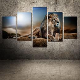 pittura murale di arte del leone Sconti Pittura a olio moderna senza cornice recumbent Lion Huge Wall Decor Art On Canvas