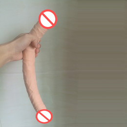 Wholesale Sex Vagina Soft Skin - Waterproof Sex Products Double Dildo 36.8cm Flexible Soft Vagina and Anal Women Gay Lesbian Double dildos Ended Dong Sex Toy