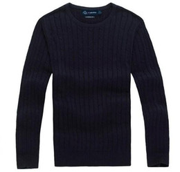 Wholesale Polo Neck Men - Free shipping 2017 new high quality mile wile polo brand men's twist sweater knit cotton sweater jumper pullover sweater Small horse game