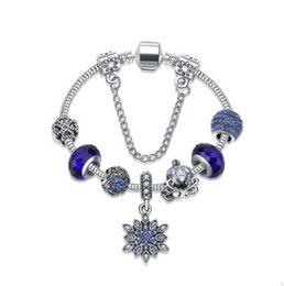 Wholesale Murano Glass Pendants Blue - 925 Sterling Silver Royal Blue Murano Glass Crystal European Charm Beads Pendant Fits Snake ChainCharm bracelets Style Bracelet Jewelry DIY