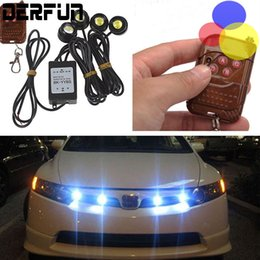 Wholesale 12v Led Remote Control - Remote Control Car work LED lights 12V 12W Hawkeye Daytime Car Emergency Strobe External Lights Wireless Kit Car Accessories