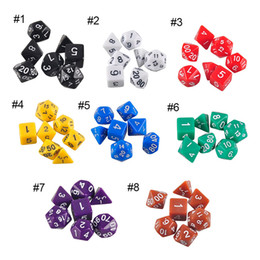 Wholesale Dices Sets - High Quality Outdoor KTV Fun 7pc Set Dice Multi-Sided Dice with Marble Effect d4 d6 d8 d10 d10 d12 d20 Dice Game 8 Color 2507015