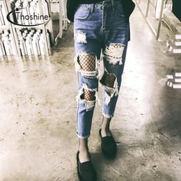 Wholesale Ladies Denim Jeans Boot Cut - Wholesale- Thoshine 2017 Spring Summer Autumn Women Ripped Hole Jeans Female Vintage Denim Pants Lady Ankle Length Trousers Plus Size 5XL