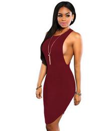 Wholesale Ladies Full Casual Length Dresses - 2017 Summer T Shirt Dress Stitching Halter Women Open Side Split Shirt Dress ladies Side Boob T Back Bandage Party Club Midi Dress