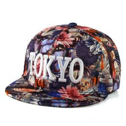 Wholesale Tokyo Women - Wholesale- TOKYO Floral Hip Hop Hat Baseball Cap Flat With A Baseball Hat Dad Hat Bone Snapback Hip Hop Caps For Women