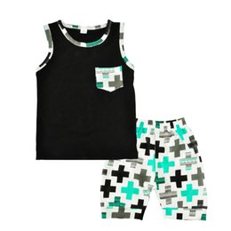 Wholesale Toddler Shorts For Summer - Wholesale Baby Boys Clothes Summer Toddler Boy Clothing Sets 2017 Summer Fashion Cross T-shirt Tops+Shorts 2pcs Kids Clothing Set For 1-3Y
