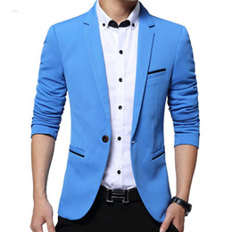 Wholesale fit suite - Wholesale- Male Suite Jacket Casual Men Blazer Formal Fit Wear Coats Jackets Clothing One-button Single Breasted Coat Free Shipping