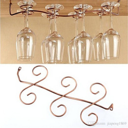 Wholesale Glass Wine Cabinet - Under Cabinet Wall Wine Rack Storage Organizer Stainless Steel Wine Glass Holder Stemware Racks 6 8 Cups