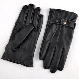 Wholesale Motorcycle Gloves For Winter - Cool Black Leather Winter Outdoor Cycling Motorcycle Men Full Finger Touch Screen Warm Gloves For Iphone Ipad Mobile