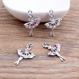 Wholesale Hot Ballet - Free Shipping 10pcs lot Hot Selling Silver Plated Elegent Dancing Ballet Girl with Rhinestone Alloy Charm Pendant DIY Jewelry Making 20*30mm