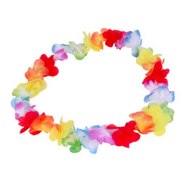 Wholesale Tropical Party Dresses - Wholesale-1pc Colorful Flower Garlands Hawaiian Tropical Party Fancy Dress Necklace 2016 New Arrival Circumference 96cm
