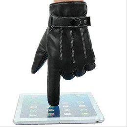 Wholesale Screen Motorcycle - Men Black Winter Warm Leather Full Finger Motorcycle Gloves Fashion Screen Touch Gloves motorcycle waterproof windproof