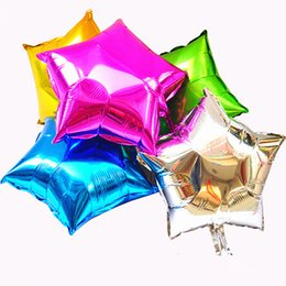 Wholesale Inflatables Stars Decorations - 10 inch Helium Balloon star Wedding Large aluminum Foil Balloons Inflatable gift Birthday baloon Party Decoration Ball WA1264
